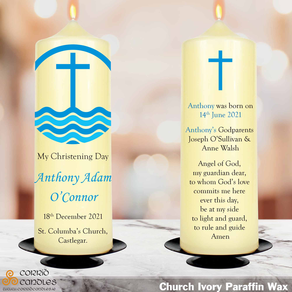 Blue Cross christening candle in ivory