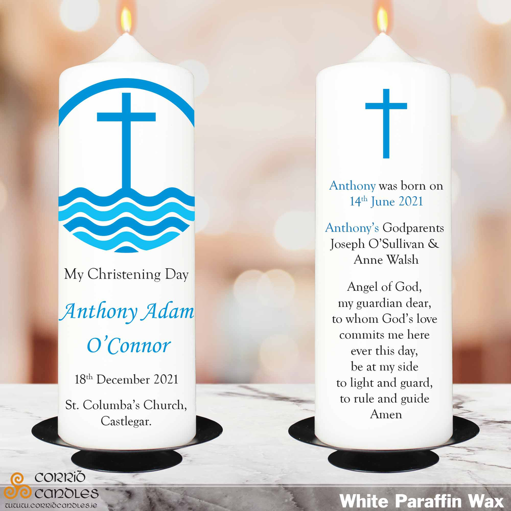 Blue Cross christening candle in white