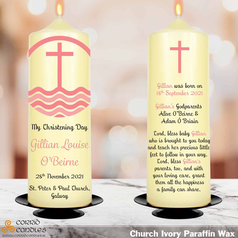 Pink Cross christening candle in ivory
