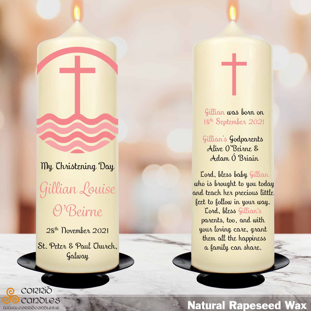 Pink Cross christening candle in rapeseed wax