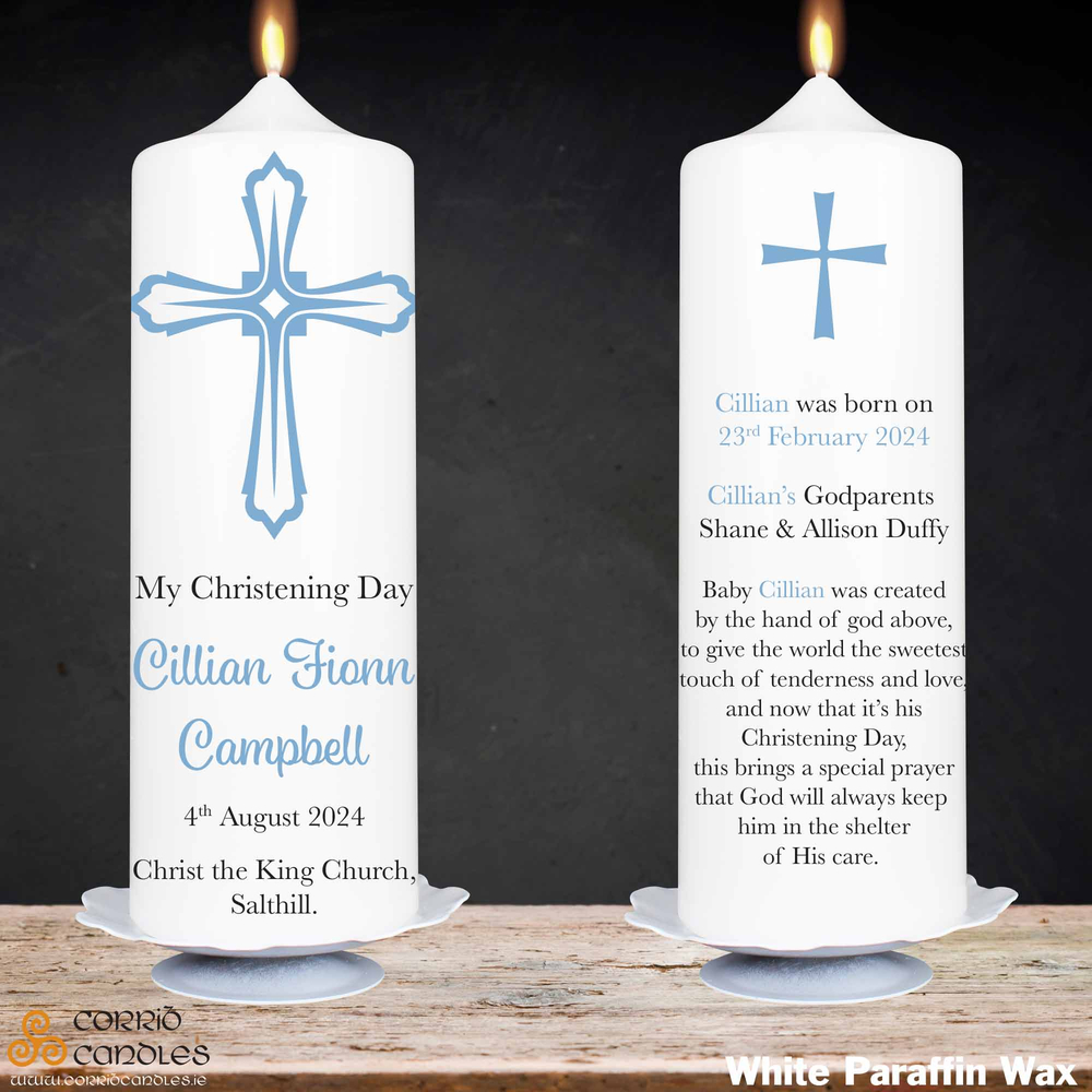 Christening Cross Blue christening candle in white