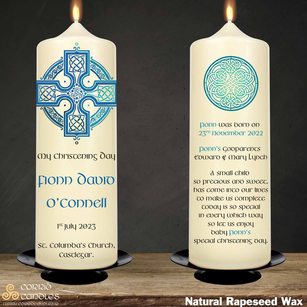Celtic Cross Blue christening candle in rapeseed wax