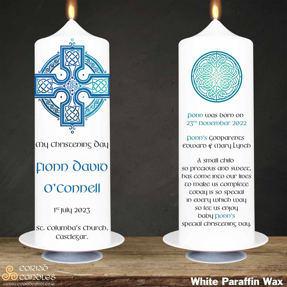 Celtic Cross Blue christening candle in white