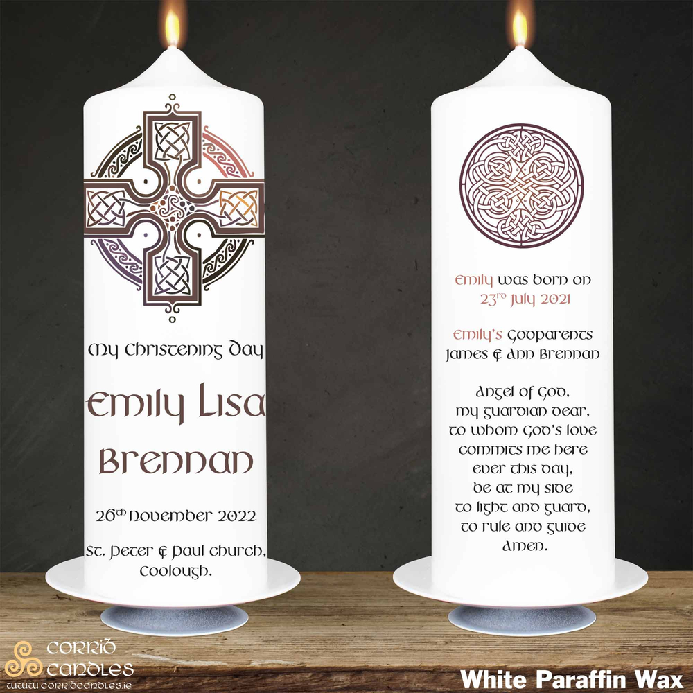 Celtic Cross Pink christening candle in white