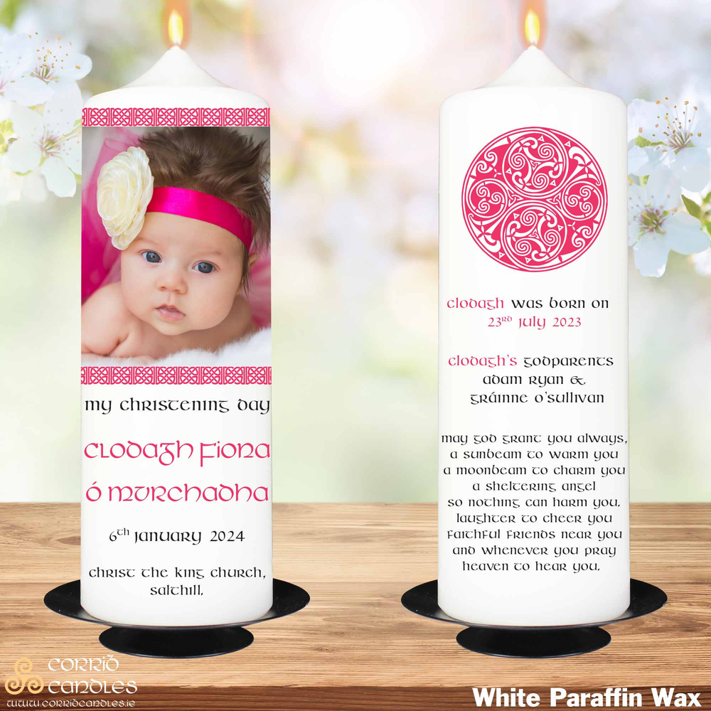 Celtic Frame Pink christening candle in white