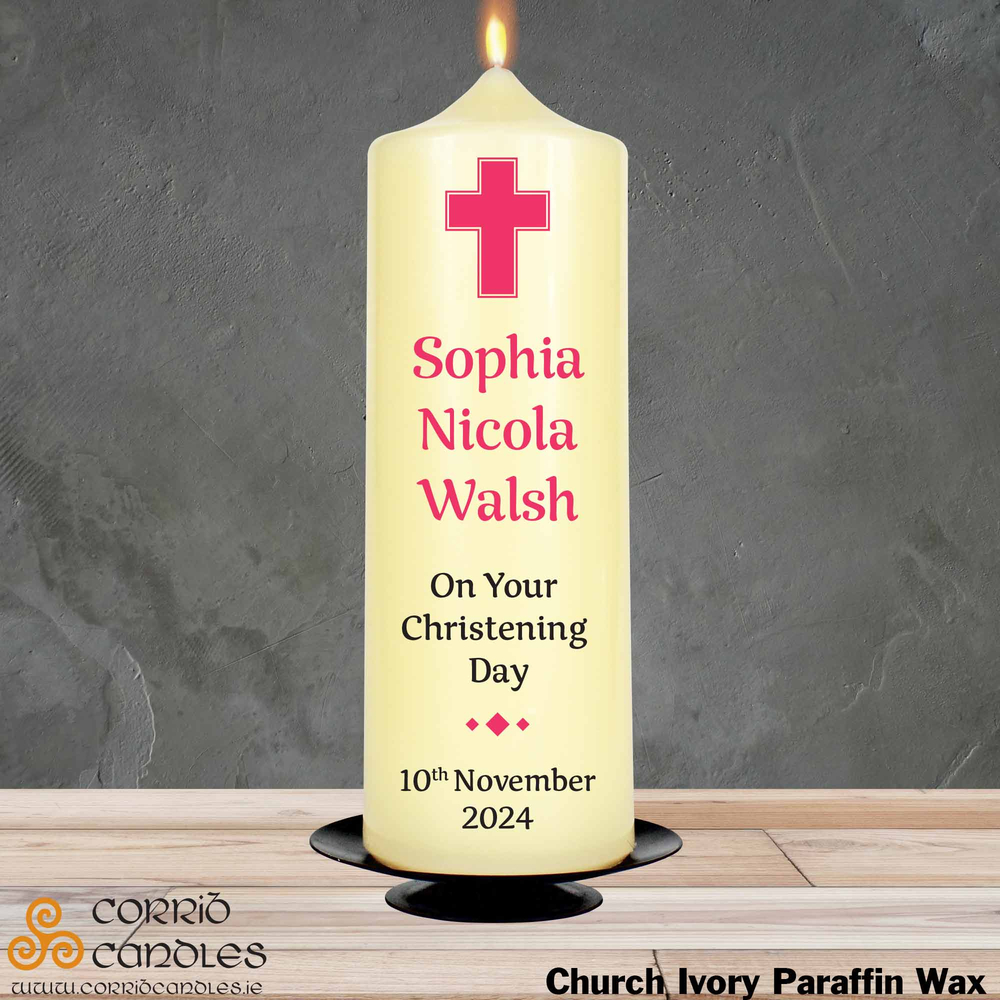 Christening Candle Simple Pink Cross on church ivory pillar candle.