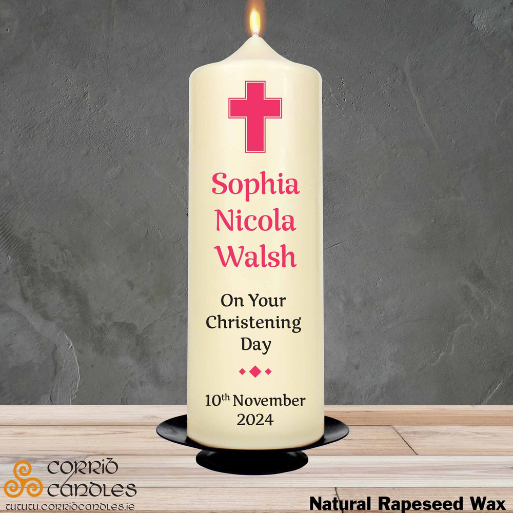 Christening Candle Simple Pink Cross on rapeseed pillar candle.