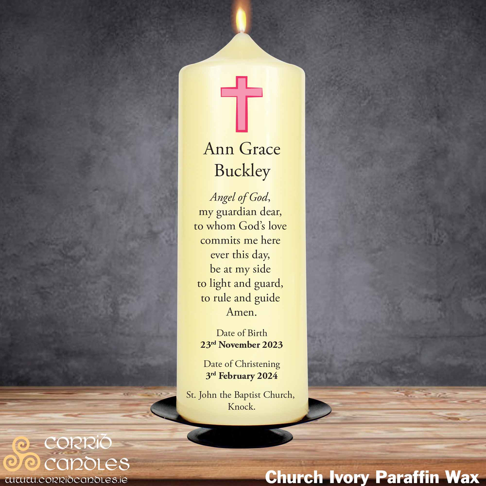 Christening Candle Small Pink Cross on a church ivory pillar candle.