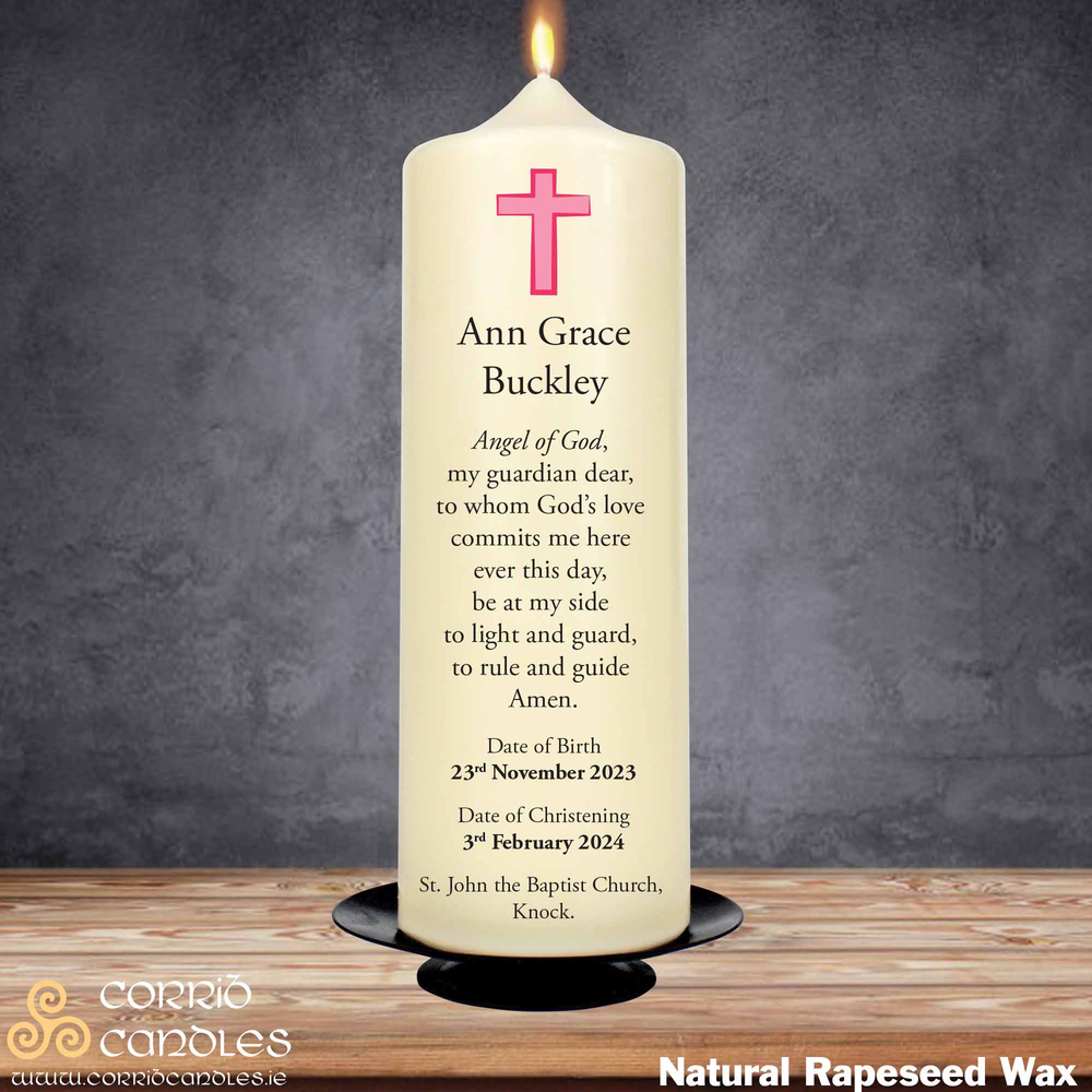 Christening Candle Small Pink Cross on a rapeseed pillar candle.