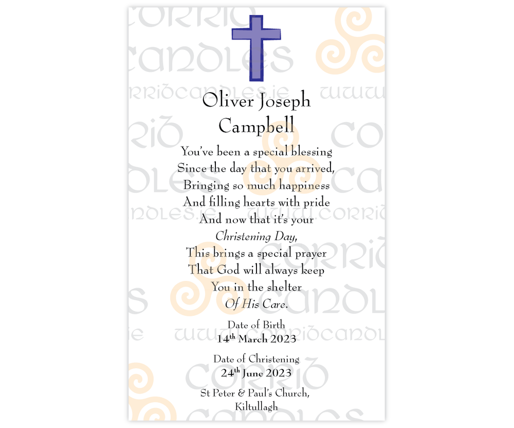 Christening Candle Small Blue Cross proof.