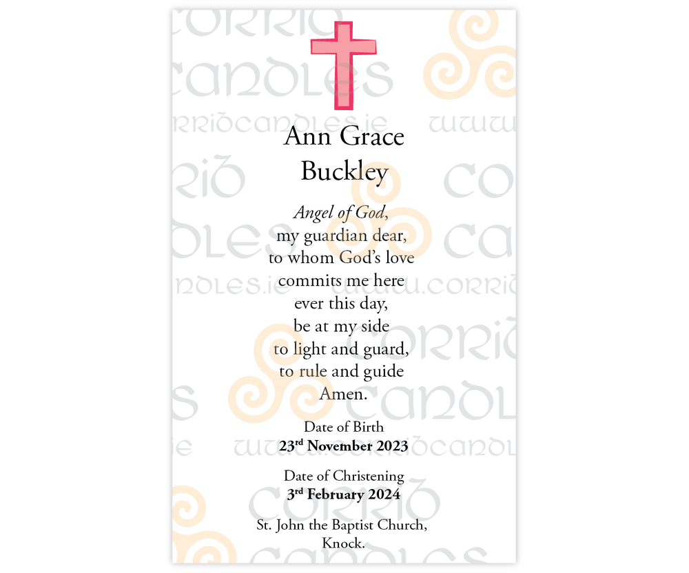 Christening Candle Small Pink Cross proof.