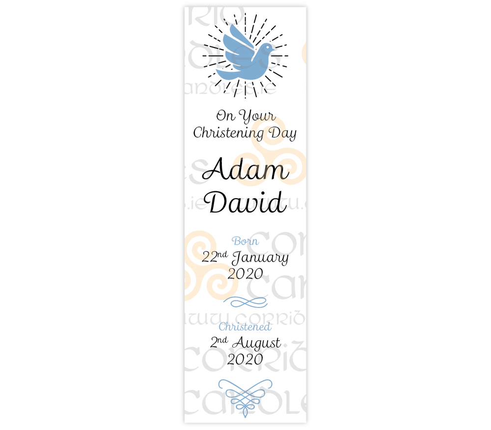 Oval Christening Candle Blue Dove proof