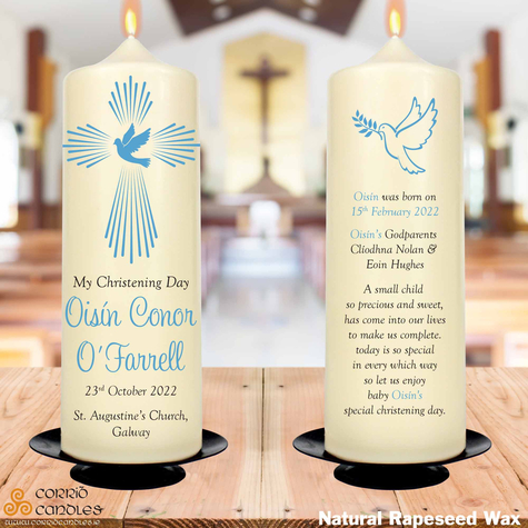 Blue Dove christening candle in rapeseed wax