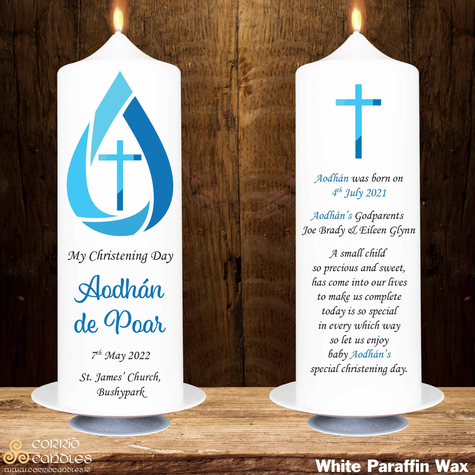 Blue Drop christening candle in white