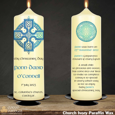 Celtic Cross Blue christening candle in ivory