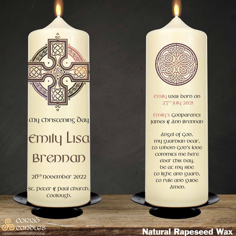 Celtic Cross Pink christening candle in rapeseed wax