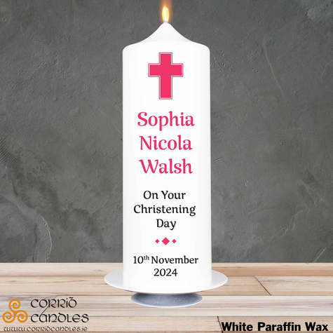 Christening Candle Simple Pink Cross on white pillar candle.