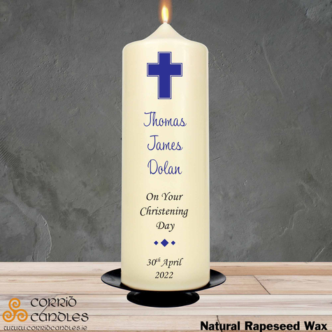 Christening Candle Simple Blue Cross on a rapeseed pillar candle.