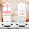 Pink Cross christening candle in white